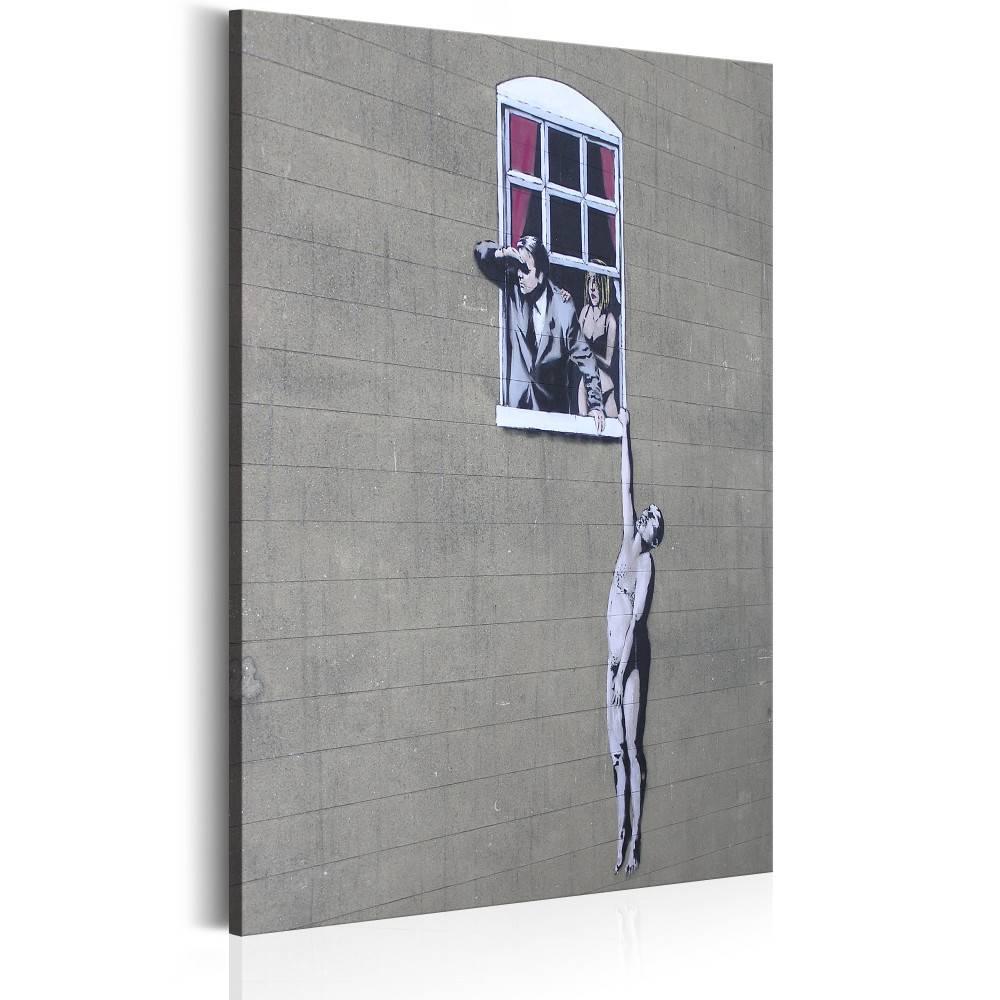 Schilderij - Well Hung Lover by Banksy , wit grijs , 1 luik , 2 maten