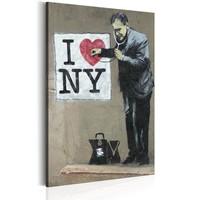 Schilderij - I Love New York by Banksy,  Beige/Zwart , 1luik