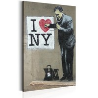 Schilderij - I Love New York by Banksy,  Beige/Zwart