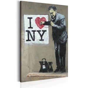 Schilderij - I Love New York by Banksy,  Beige/Zwart