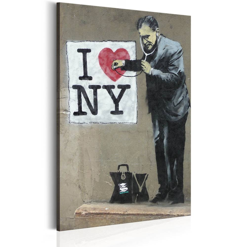 Schilderij - I Love New York by Banksy, 1 deel, 2 maten , beige zwart