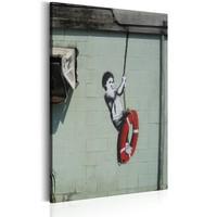 Schilderij - Swinger, New Orleans - Banksy,  Rood/Wit/Zwart
