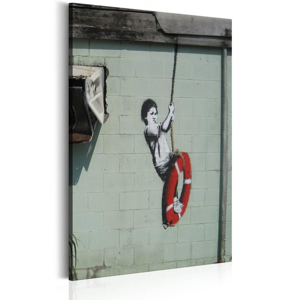 Schilderij - Swinger, New Orleans - Banksy, 1 deel, 2 maten , rood wit zwart
