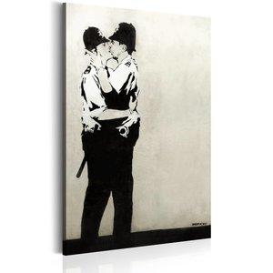 Schilderij - Kussende agenten by Banksy, 1 deel, 2 maten