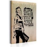 Schilderij - Graffiti Slogan by Banksy, Beige/Zwart