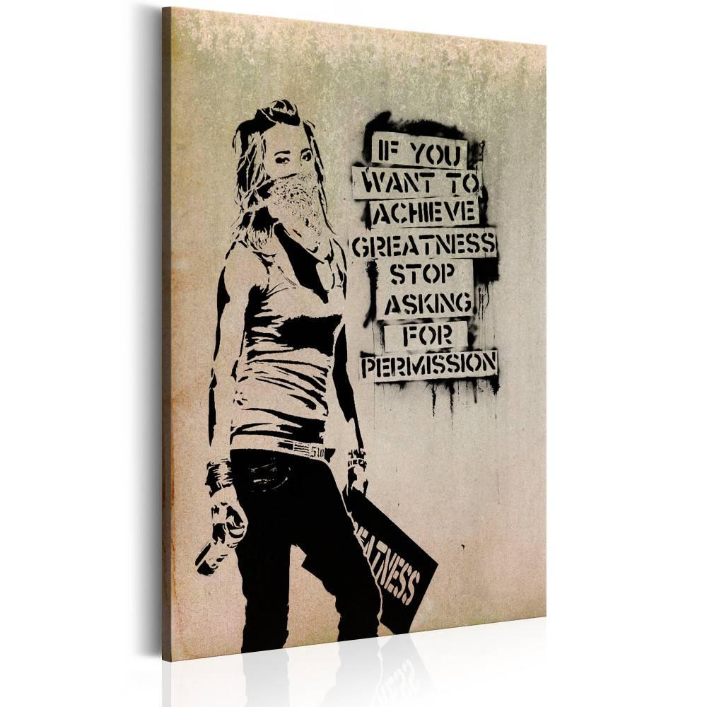 Schilderij - Graffiti Slogan by Banksy, 1 deel, 2 maten , beige zwart