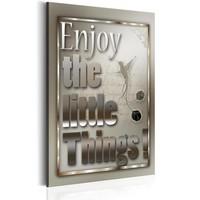 Schilderij - Teksten - Enjoy the little Things,  Grijs/Wit , 1luik
