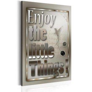 Schilderij - Teksten - Enjoy the little Things, 1 deel, 2 maten , grijs wit