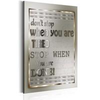 Schilderij - Teksten - Don't Stop, 1 deel, 2 maten , grijs wit