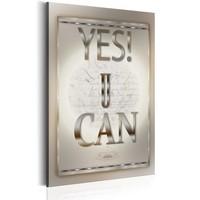 Schilderij - Teksten - Yes U Can, 1 deel, 2 maten