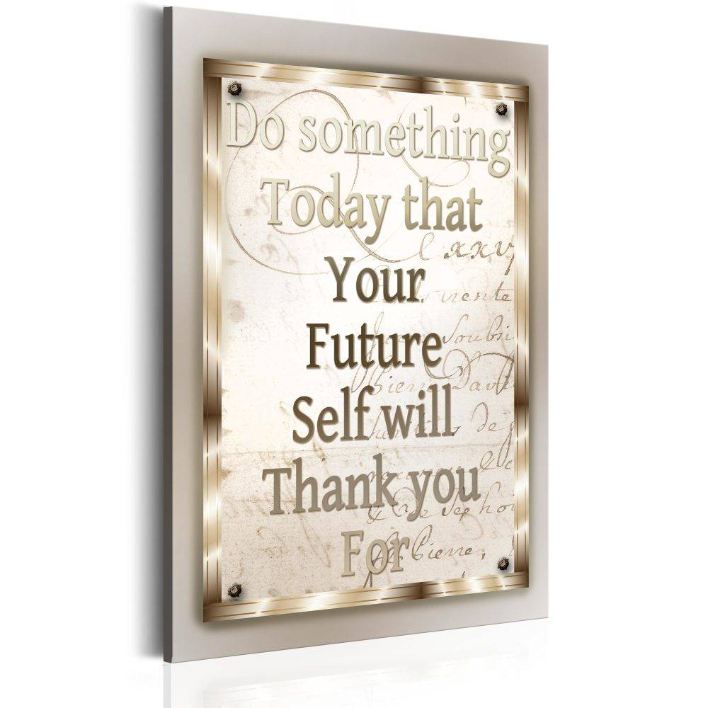 Schilderij - Teksten - Do Something Today, 1 deel, 2 maten , beige wit