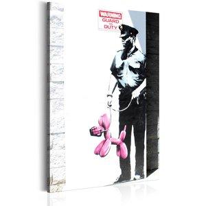 Schilderij - Politie agent met roze hond, Banksy, zwart/wit/roze, 1 deel, 2 maten