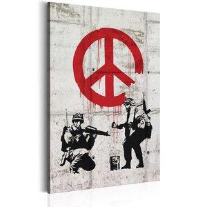 Schilderij -  Soldaten voor de vrede, zwart/wit/rood, Banksy, 1 deel, 2 maten