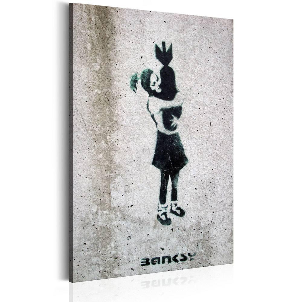 Schilderij - Bom knuffel, zwart/wit, 1 deel, 2 maten (banksy)