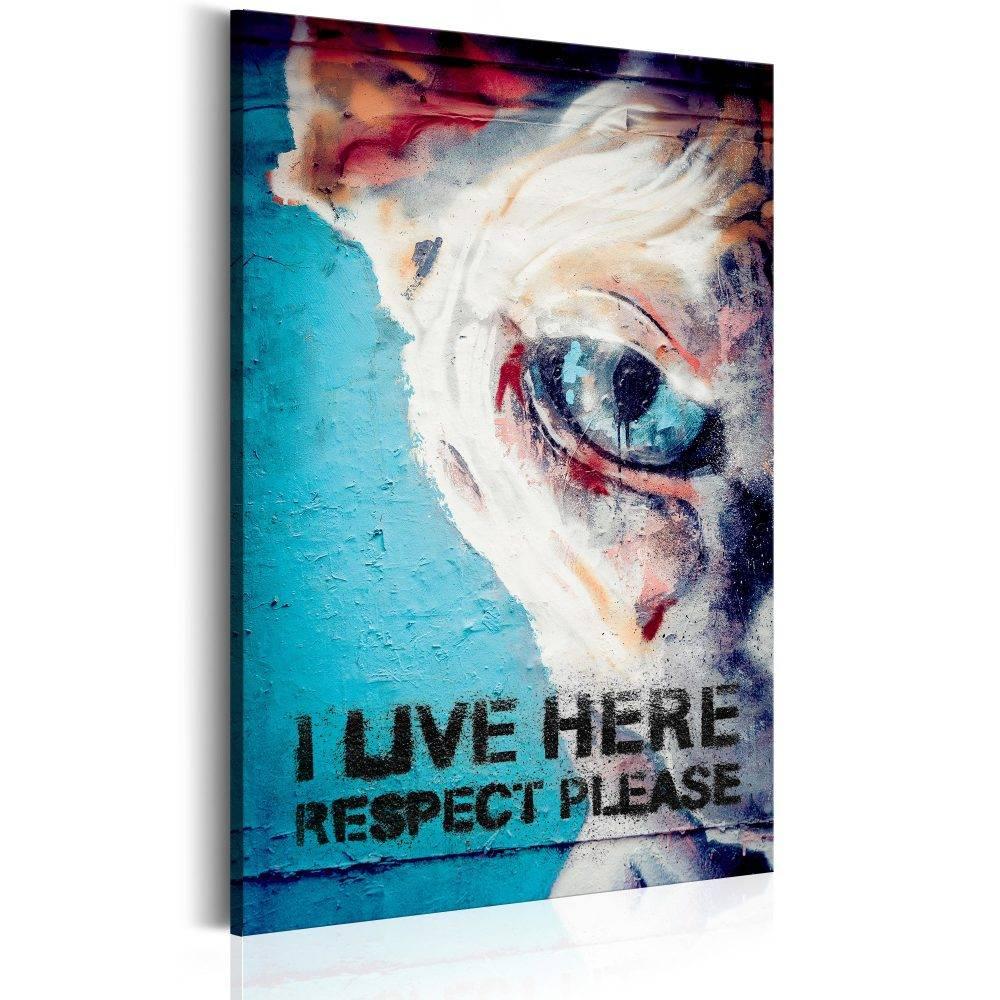 Schilderij - I Live Here, Respect Please, 1 deel, 2 maten , blauw wit