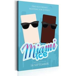 Schilderij - Miami Ice, wit/bruin/blauw, 1 deel, 2 maten
