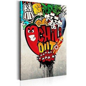 Schilderij - Chili Out, Rood, 1 deel, 2 maten