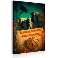 Schilderij - Enjoy the game, basketbal, oranje/groen, 1 deel, 2 maten