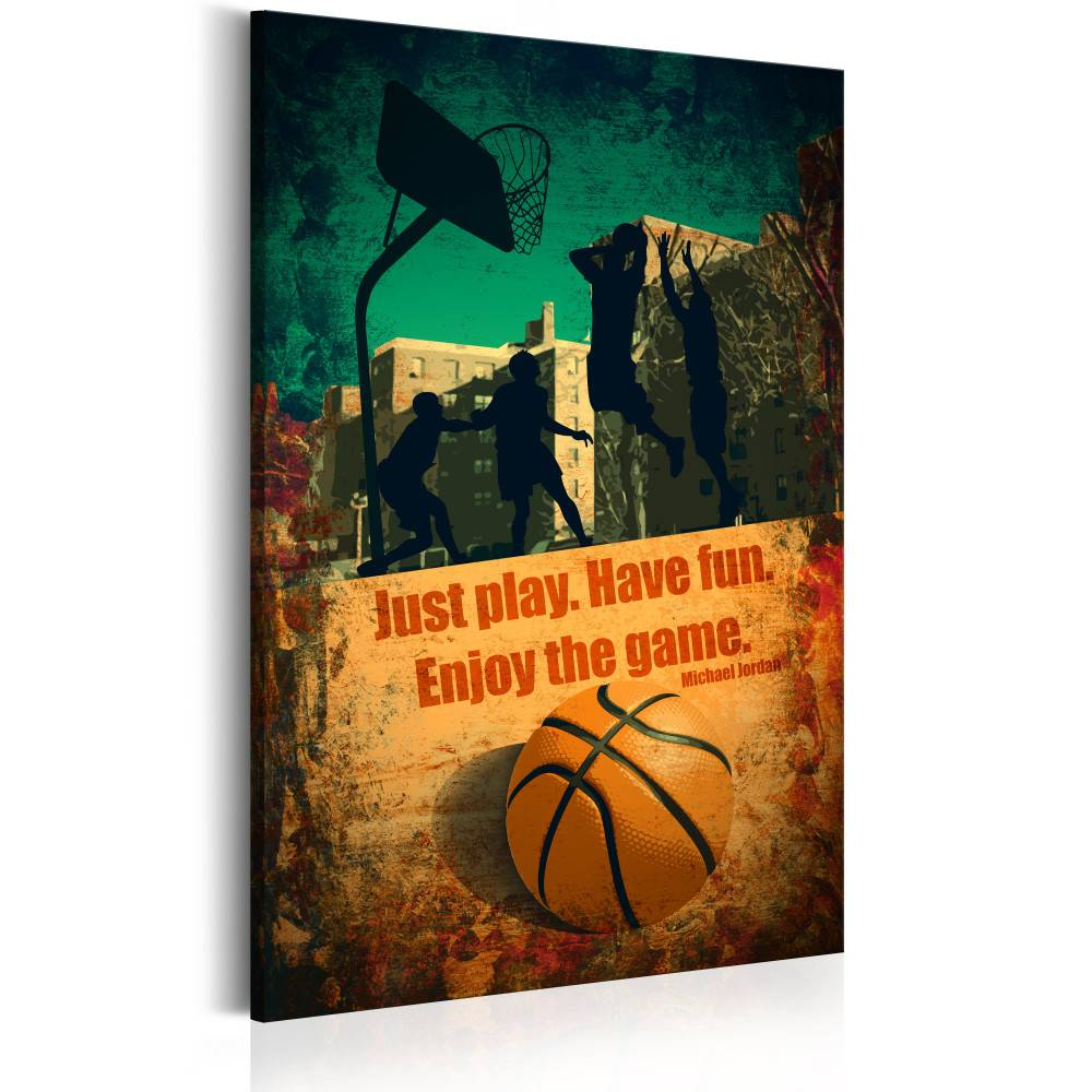 Schilderij - Enjoy the game, basketbal, oranje/groen, 1 deel, 2 maten