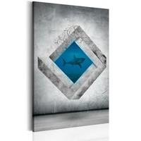 Schilderij - Haai in perspectief , Zwart/Wit/Blauw, 1luik