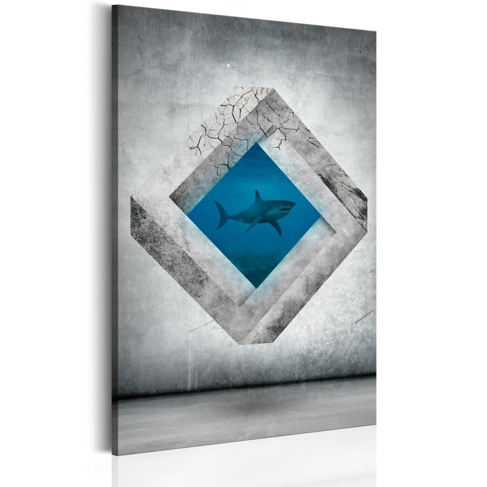 Schilderij - haai in perspectief zwart/wit/blauw, 1 deel, 2 maten