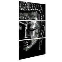 Schilderij - Grijze Boeddha ,  Zwart/Wit, 3luik