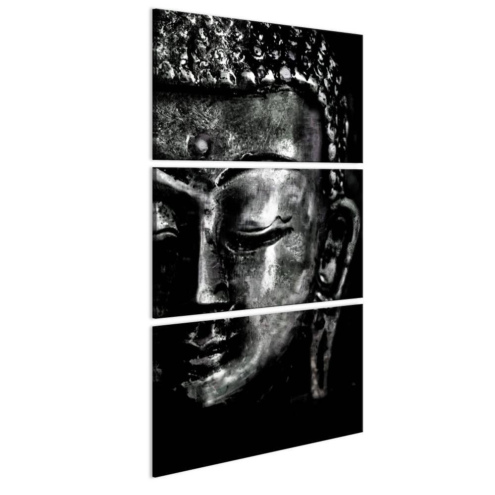 Schilderij - Grijze Boeddha zwart/wit, 3 delen, 2 maten