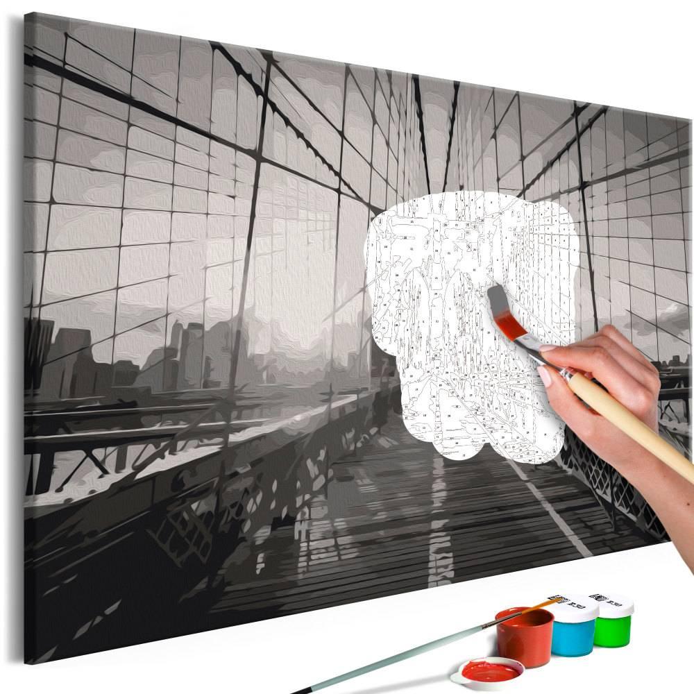 Doe-het-zelf op canvas schilderen - New York Bridge 60x40cm