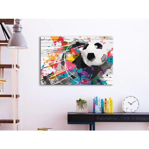 Doe-het-zelf op canvas schilderen - Voetbal met kleuren 60x40cm