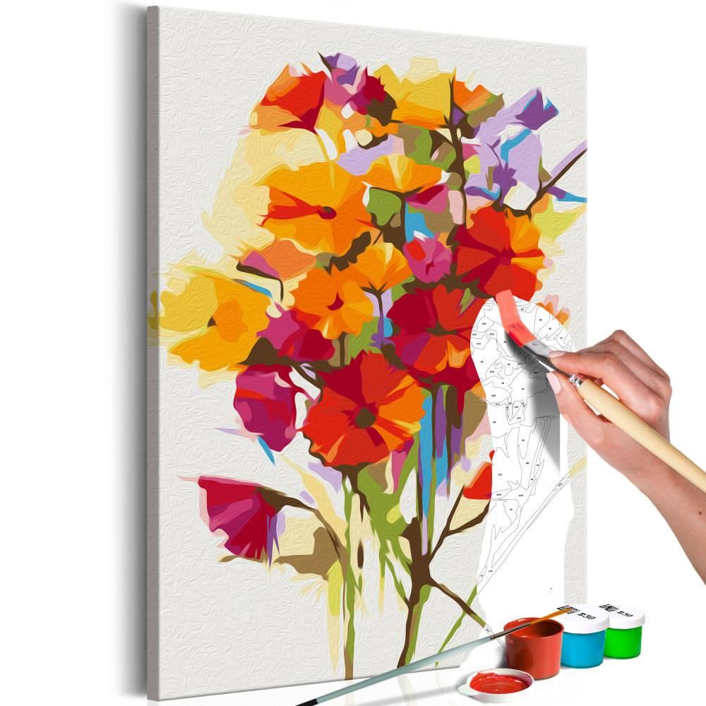 Doe-het-zelf op canvas schilderen - Zomer boeket bloemen 40x60cm