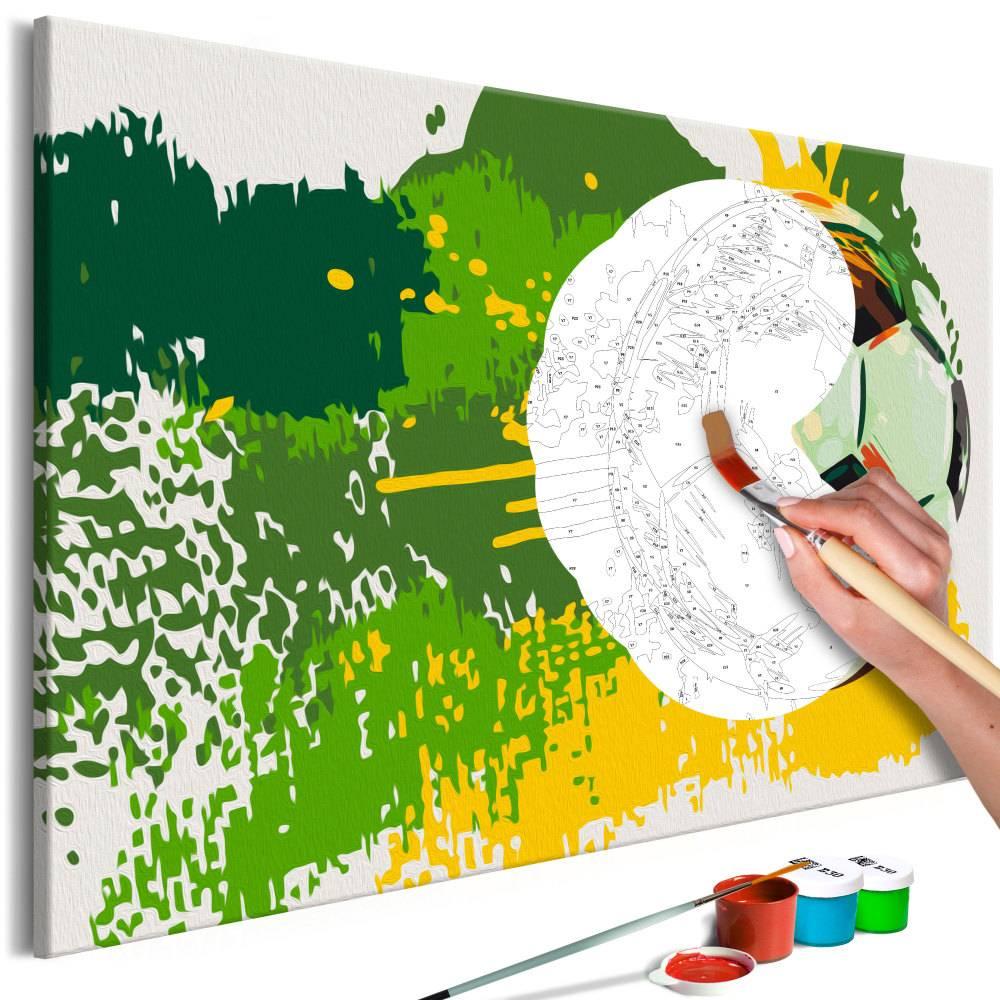 Doe-het-zelf op canvas schilderen - Voetbal is emotie 60x40cm
