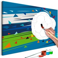 Doe-het-zelf op canvas schilderen - Schot op doel, voetbal 60x40cm
