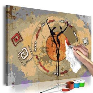 Doe-het-zelf op canvas schilderen - Afrikaanse dans 60x40cm