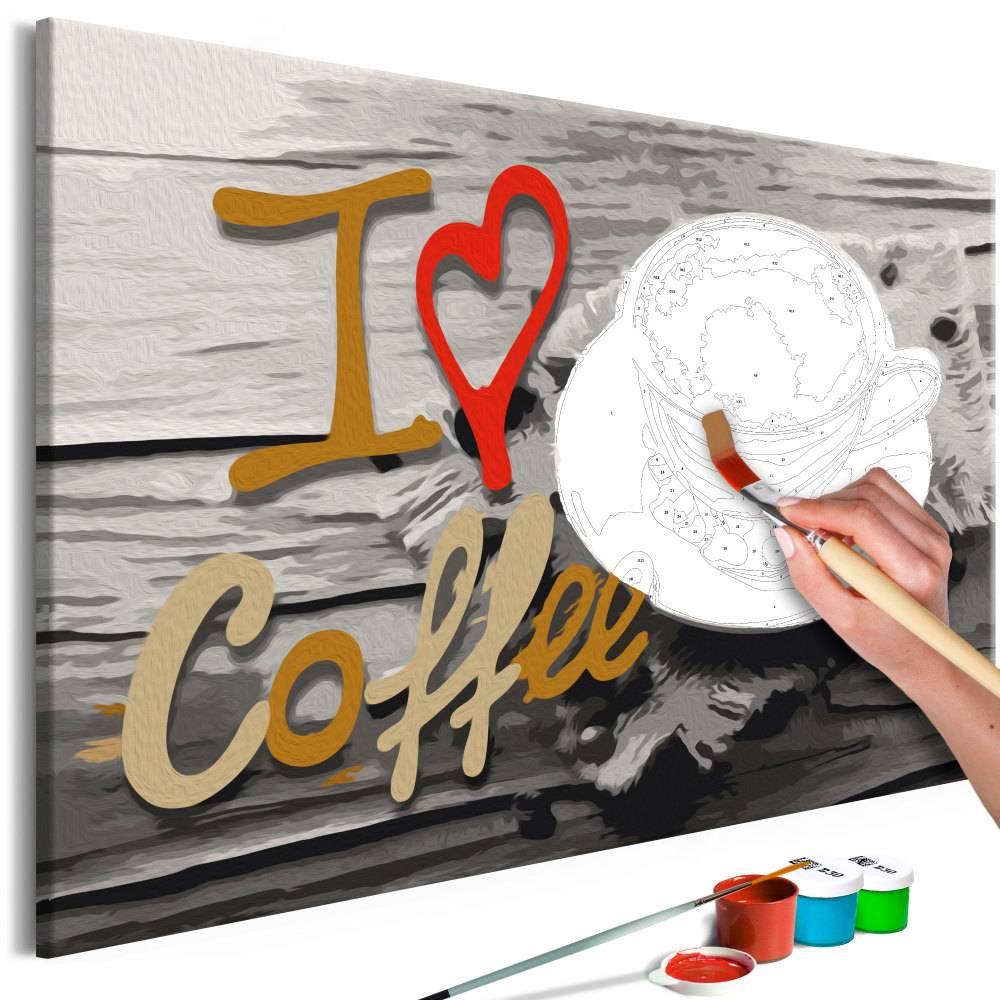 Doe-het-zelf op canvas schilderen - I Love Coffee 60x40cm