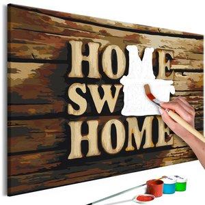 Doe-het-zelf op canvas schilderen - Home sweet home 60x40cm
