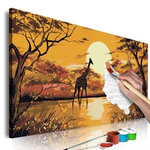 Doe-het-zelf op canvas schilderen - Giraffe bij zonsondergang 80x40cm
