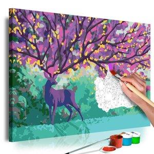 Doe-het-zelf op canvas schilderen - Paars hert 60x40cm