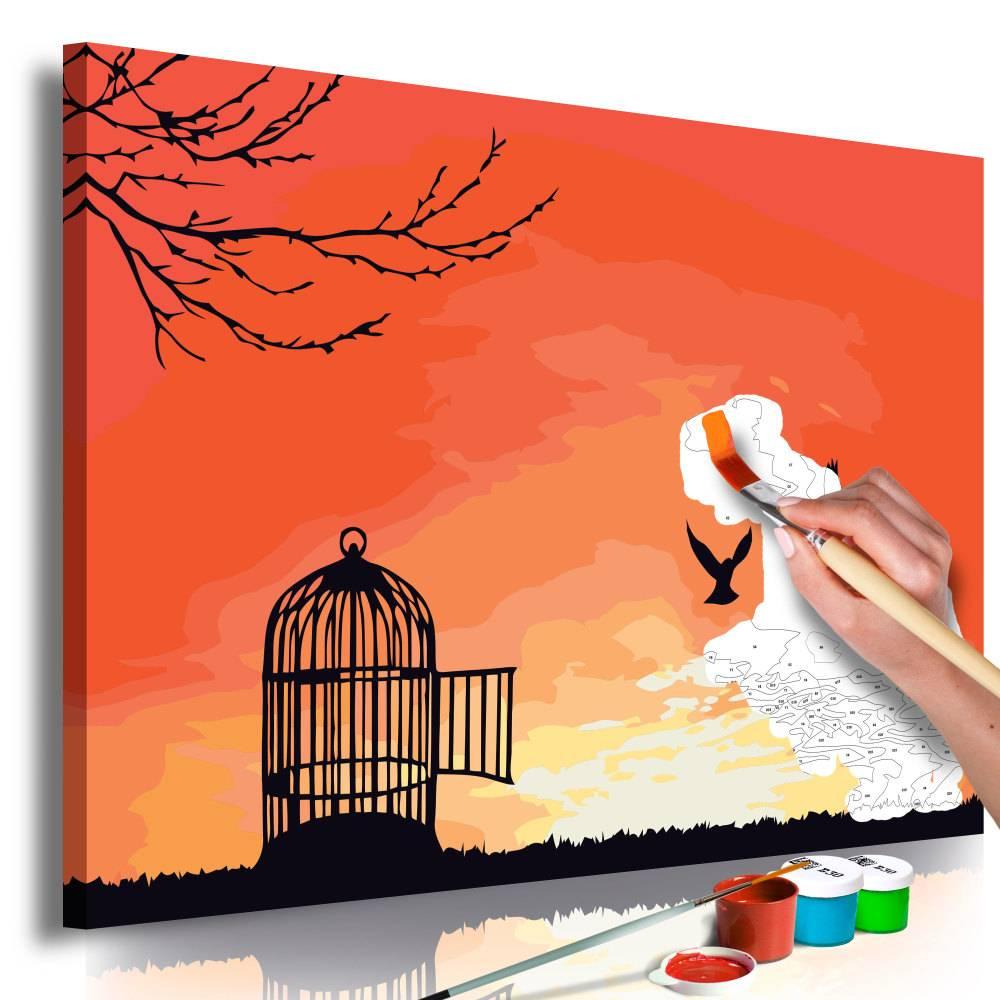 Doe-het-zelf op canvas schilderen - Open vogelkooi 60x40cm