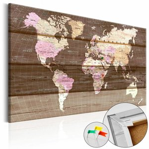 Afbeelding op kurk - Houten wereld, wereldkaart, Bruin, Hout Look op Doek, 90x60, 1luik