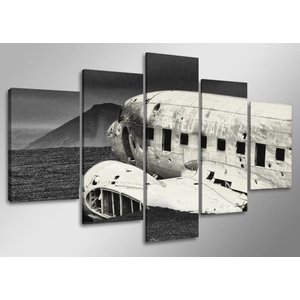 Schilderij - Vliegtuig, Zwart-Wit, 160X80cm, 5luik