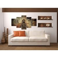 Schilderij - Boeddha, Bruin, 160X80cm, 5luik