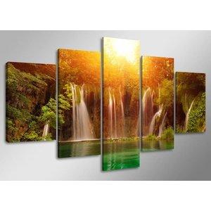 Schilderij - Waterval, Groen/Oranje, 160X80cm, 5luik