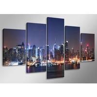Schilderij - New York, Blauw, 160X80cm, 5luik