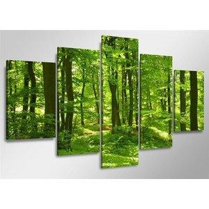 Schilderij - Bos, Groen, 160X80cm, 5luik