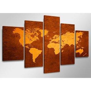 Schilderij - Wereldkaart, Bruin/Oranje, 160X80cm, 5luik