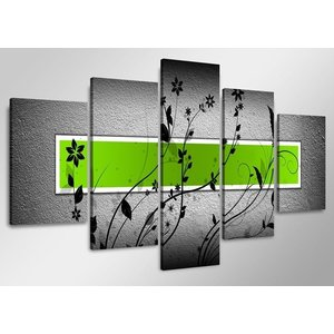 Schilderij - Abstract, Groen/Grijs, 160X80cm, 5luik