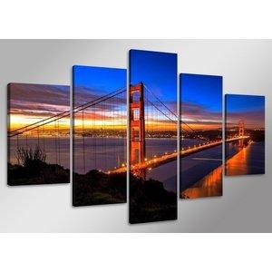 Schilderij - Golden Gate Bridge, Blauw/Rood, 160X80cm, 5luik