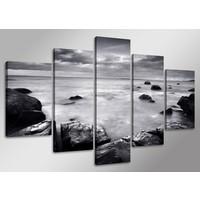 Schilderij - Zee, Zwart/Wit, 160X80cm, 5luik