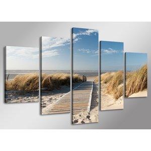Schilderij - Uitzicht op Noordzee, Blauw/Beige, 160X80cm, 5luik