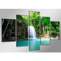 Schilderij - Paradijs Waterval, Groen, 160X80cm, 5luik